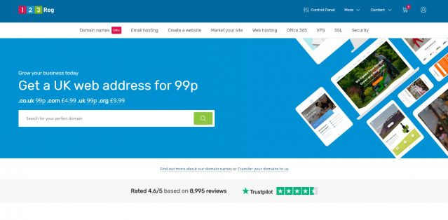 123 Reg home page