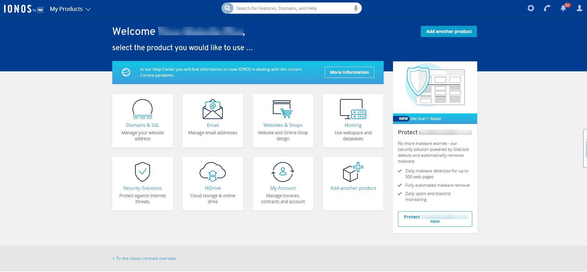 1and1 IONOS control panel home page