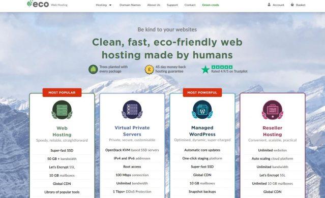 Eco Web Hosting home page