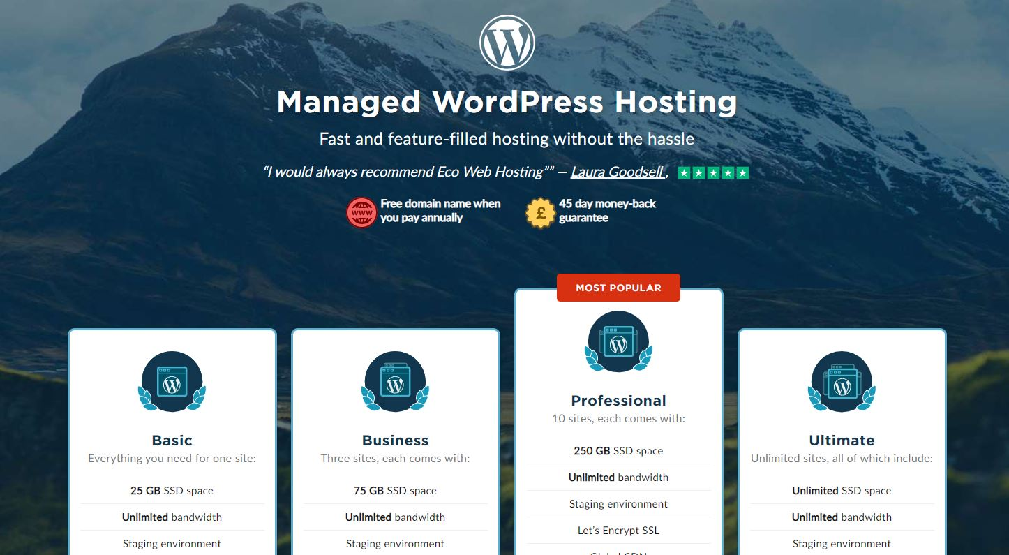 Eco hosting WordPress plans