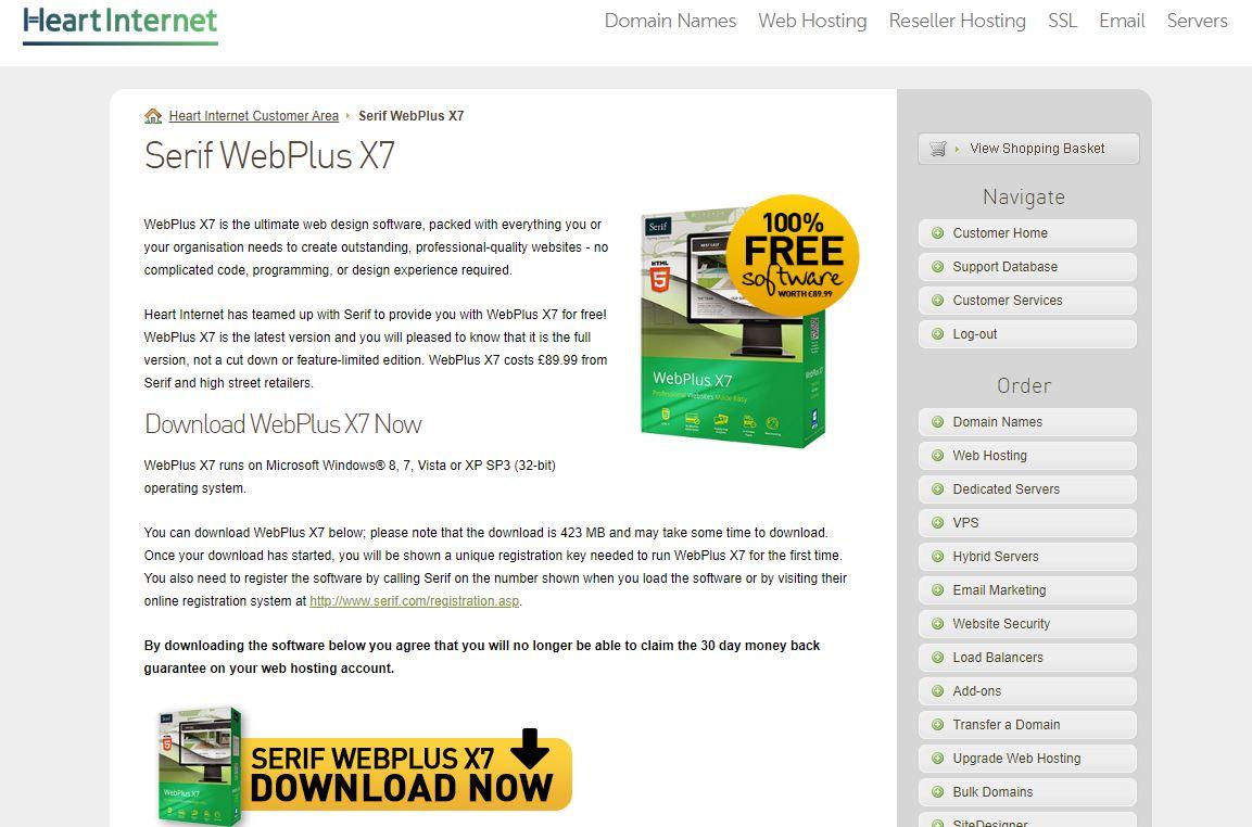 Heart Internet Serif WebPlus X7 offer