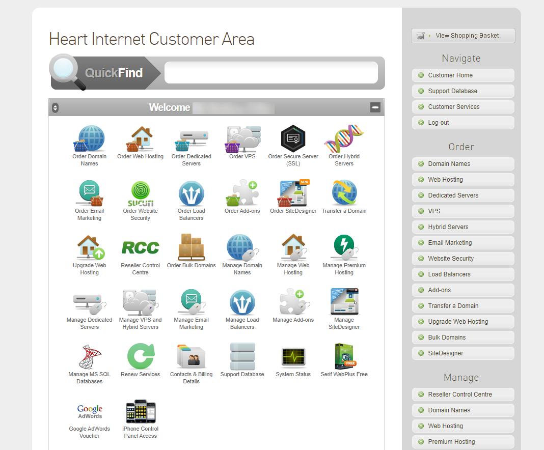 Heart Internet control panel