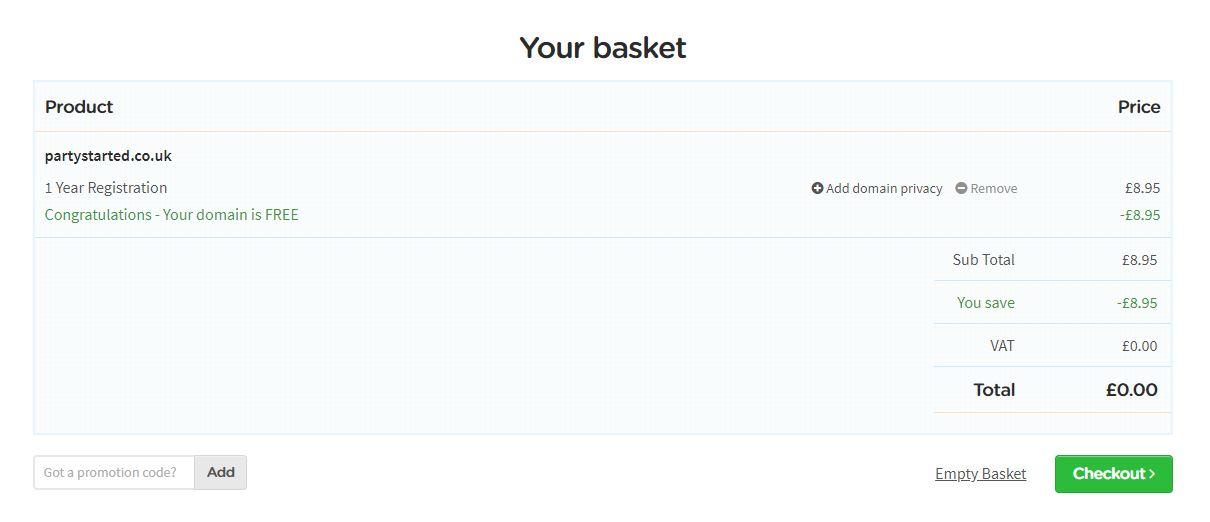 LCN free domain basket
